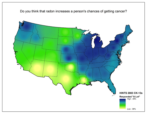 Map of United States showing varying degrees of responses to the question Do you think that radon increases a person's chances of getting cancer? (A lot/Not at all)
