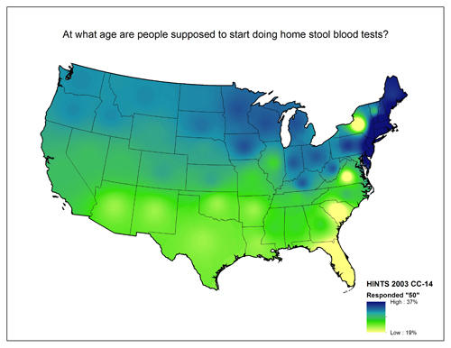 Map of the United States showing varying degrees of responses to the question At what age are people supposed to start doing home stool blood tests?