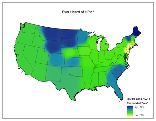 Map of United States showing varying degrees of responses to the question Ever Heard of HPV?