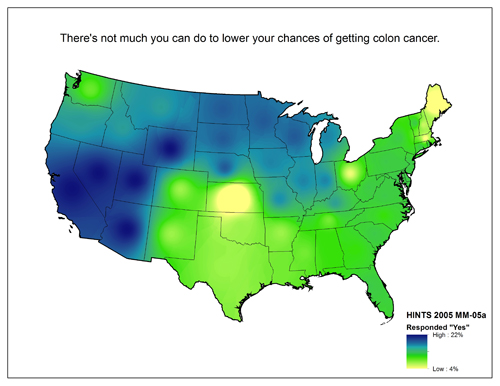 Map of United States showing varying degrees of responses to the question There's not much you can do to lower your chances of getting colon cancer. (Agree/Disagree)