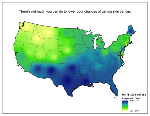 Map of United States showing varying degrees of responses to the question There's not much you can do to lower your chances of getting skin cancer. (Agree/Disagree)
