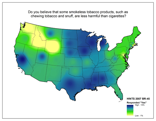 Map of United States showing varying degrees of responses to the question Do you believe that some smokeless tobacco products, such as chewing tobacco and snuff, are less harmful than cigarettes?